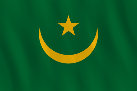 Mauritania flag with waving effect, official proportion.