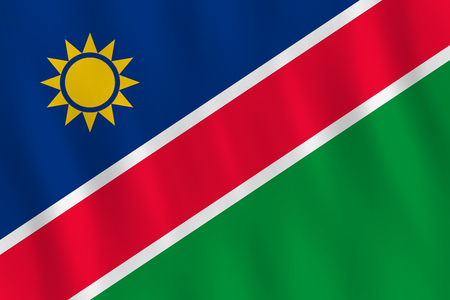 Namibia flag with waving effect, official proportion.