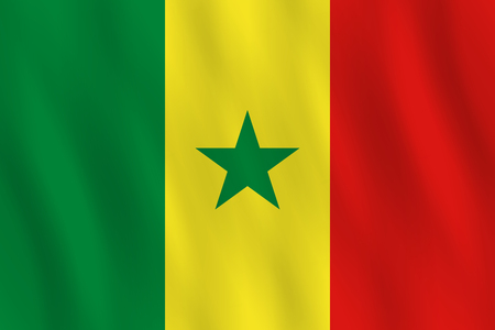 Senegal flag with waving effect, official proportion.