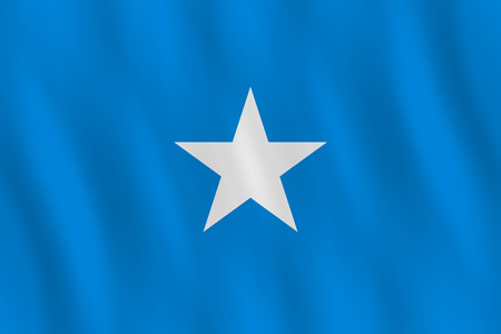 Somalia flag with waving effect, official proportion.