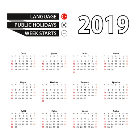 2019 calendar in Turkish language, week starts from Sunday. Vector Illustration.
