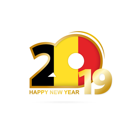 Year 2019 with Belgium Flag pattern. Happy New Year Design. Vector Illustration.