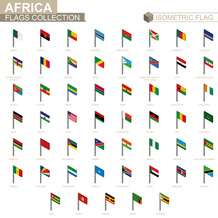 Isometric flag collection, countries of Africa. Иллюстрация