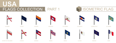 Isometric flag collection, US States set part 1 Ilustração