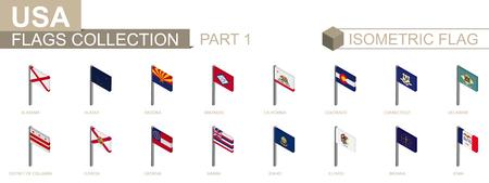 Isometric flag collection, US States set part 1 Illustration