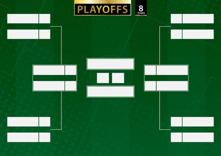 Turnierhalterung für 8 Teams auf grünem Fußballhintergrund