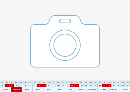 February 2019 for desk calendar, one line vector template calendar in English.