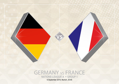 Germany vs France, League A, Group 1. Europe football competition on beige soccer background. Stock Illustratie