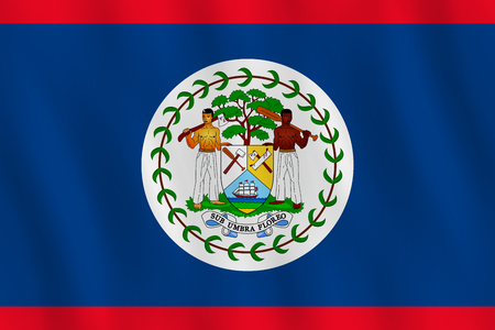 Belize flag with waving effect, official proportion.