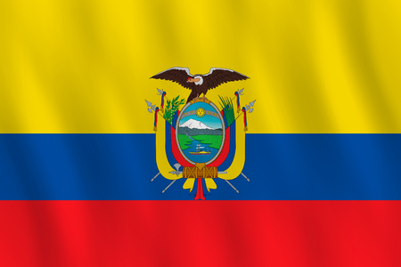 Ecuador flag with waving effect, official proportion. Vector Illustration