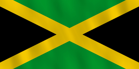 Jamaica flag with waving effect, official proportion. Illustration