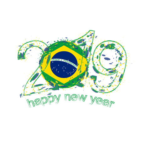 Happy New 2019 Year with flag of Brazil. Holiday grunge vector illustration. Illustration