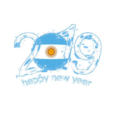 Frohes neues Jahr 2019 mit Flagge von Argentinien. Urlaub Grunge-Vektor-Illustration.