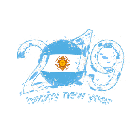 Happy New 2019 Year with flag of Argentina. Holiday grunge vector illustration.