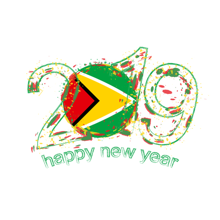 Happy New 2019 Year with flag of Guyana. Holiday grunge vector illustration.