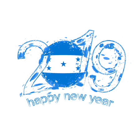 Happy New 2019 Year with flag of Honduras. Holiday grunge vector illustration.