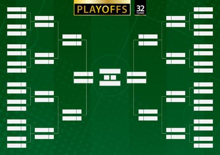 Soporte de torneo para 32 equipos sobre fondo verde de fútbol