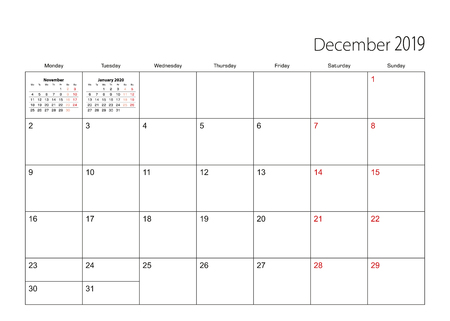 December 2019 simple calendar planner, week starts from Monday.