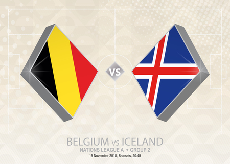 Belgium vs Iceland, League A, Group 2. Europe football competition on beige soccer background.