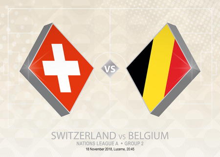 Switzerland vs Belgium, League A, Group 2. Europe football competition on beige soccer background.