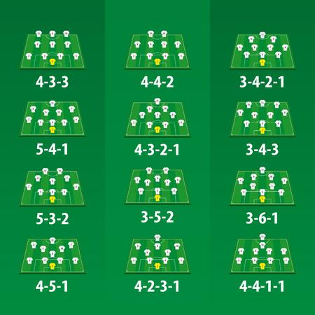 Fußballmannschaftsformation auf grünem Fußballplatz, 12 verschiedene Versionen.