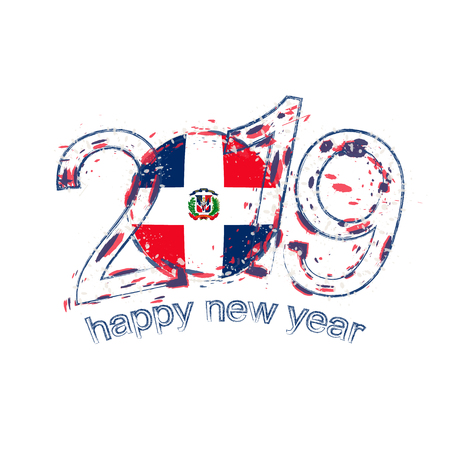 Happy New 2019 Year with flag of Dominican Republic. Holiday grunge vector illustration.
