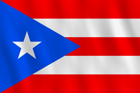 Puerto Rico flag with waving effect, official proportion. Foto de archivo - 111704694