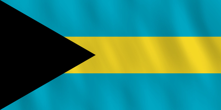 The Bahamas flag with waving effect, official proportion.