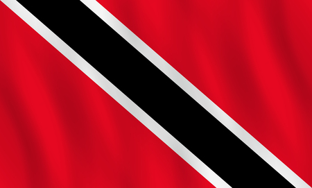 Trinidad and Tobago flag with waving effect, official proportion.