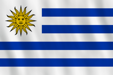 Uruguay flag with waving effect, official proportion. Illustration