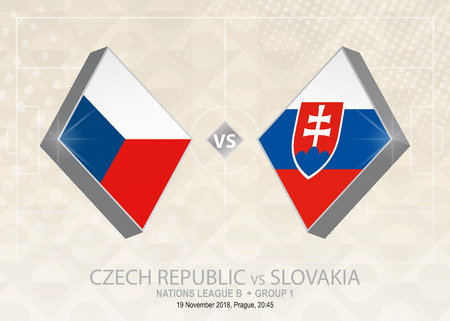 Czech Republic vs Slovakia, League B, Group 1. Europe football competition on beige soccer background.