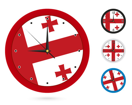 Wall Clock Design with National Flag of Georgia. Four different design. Ready for print. Vector Illustration. Ilustrace