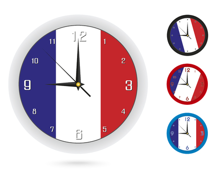 Wall Clock Design with National Flag of France. Four different design. Ready for print. Vector Illustration. Ilustrace