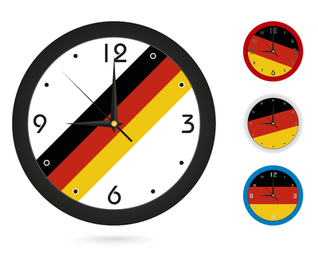 Wall Clock Design with National Flag of Germany. Four different design. Ready for print. Vector Illustration.