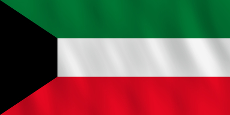 Kuwait flag with waving effect, official proportion.