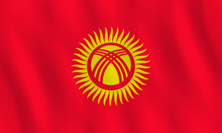 Kyrgyzstan flag with waving effect, official proportion.