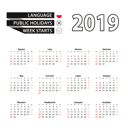 2019 calendar in Polish language, week starts from Sunday. Vector Illustration.
