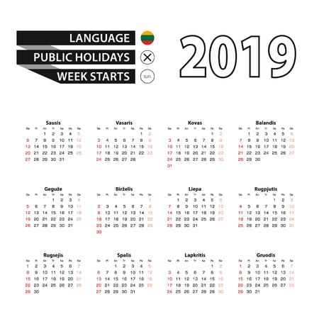 2019 calendar in Lithuanian language, week starts from Sunday. Vector Illustration. Çizim