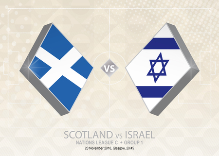 Scotland vs Israel, League C, Group 1. Europe football competition on beige soccer background.
