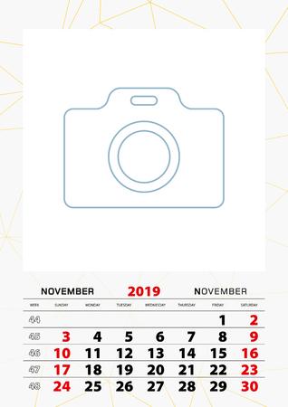 Wall calendar planner template for November 2019, week starts on sunday. Vector illustration.