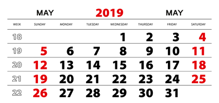 Wall calendar 2019 for may, week start from sunday. Block size 297x140 mm.