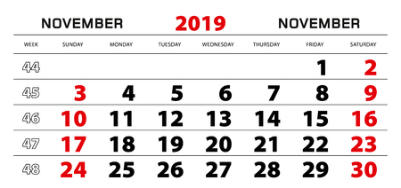 Wall calendar 2019 for november, week start from sunday. Block size 297x140 mm. Ilustração