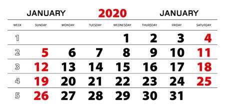 Wandkalender 2020 voor januari, weekstart vanaf zondag. Blokmaat 297x140 mm.