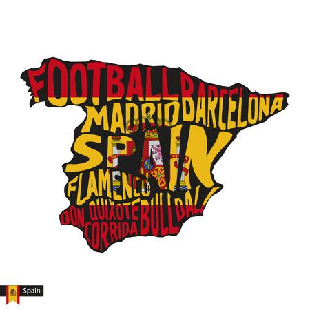 Sagoma mappa tipografia della Spagna nei colori nero e bandiera. Illustrazione di vettore.