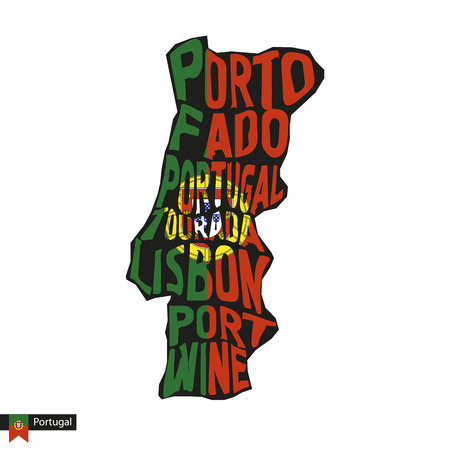 Typography map silhouette of Portugal in black and flag colors. Vector Illustration. Иллюстрация