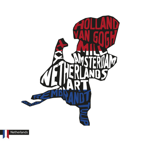 Typography map silhouette of Netherlands in black and flag colors. Vector Illustration.