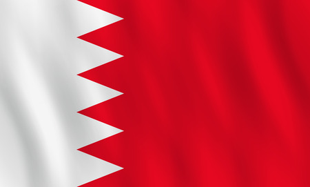 Bahrain flag with waving effect, official proportion.