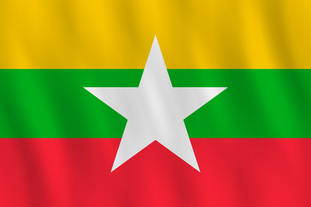 Myanmar flag with waving effect, official proportion.