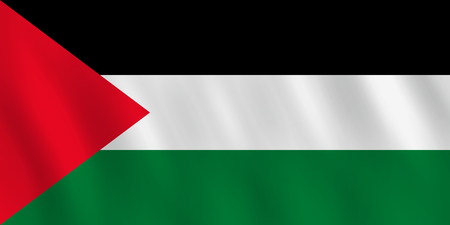 Palestine flag with waving effect, official proportion.