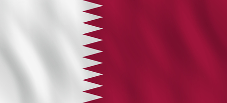 Qatar flag with waving effect, official proportion.